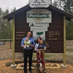 A picture of Dr. Morris and Family at the Merrimack Dog Park